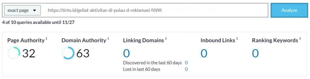contoh hasil analisis pa di link explorer moz