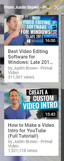 contoh cards di video youtube