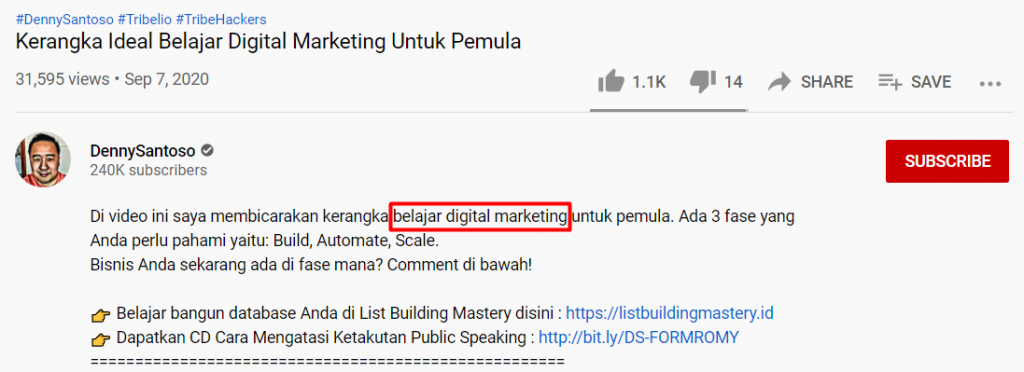 contoh deskripsi video youtube