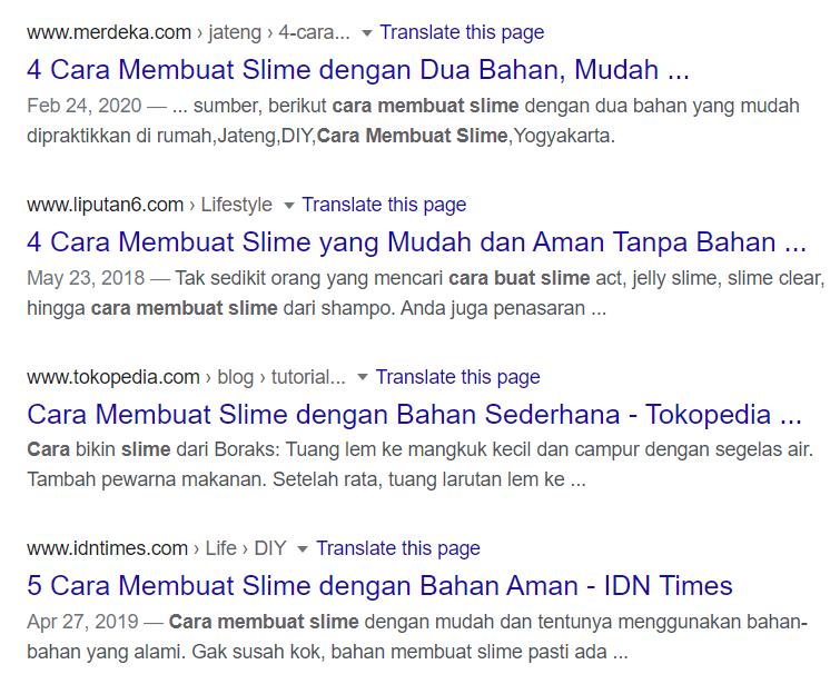 contoh hasil serp google