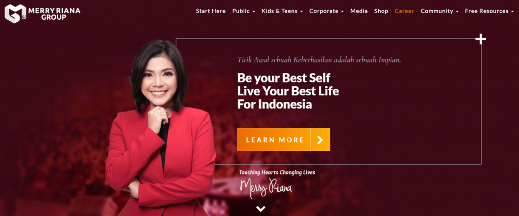 halaman utama website merry riana
