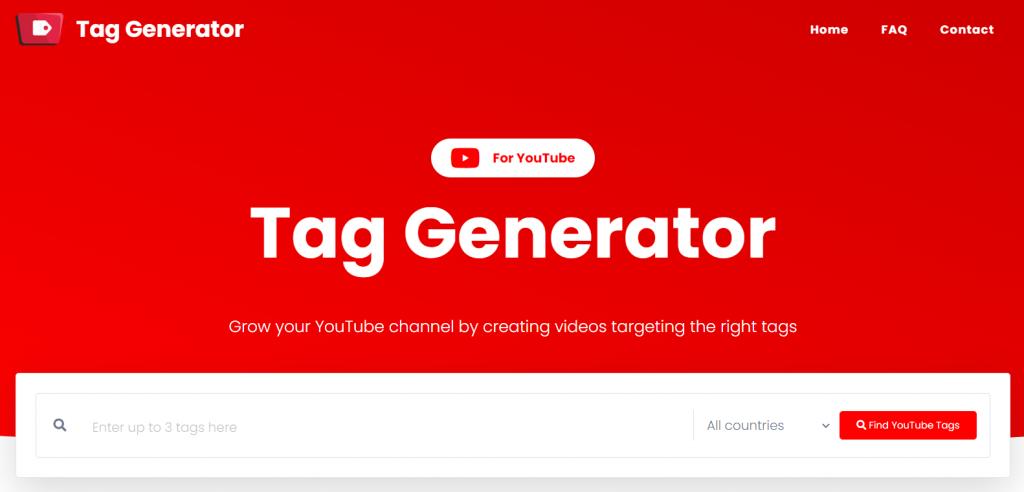 halaman utama youtube tag generator