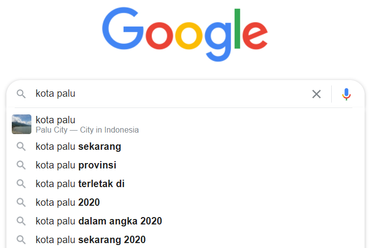 contoh hasil autocomplete google