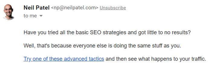 contoh link untuk menarik traffic website di email