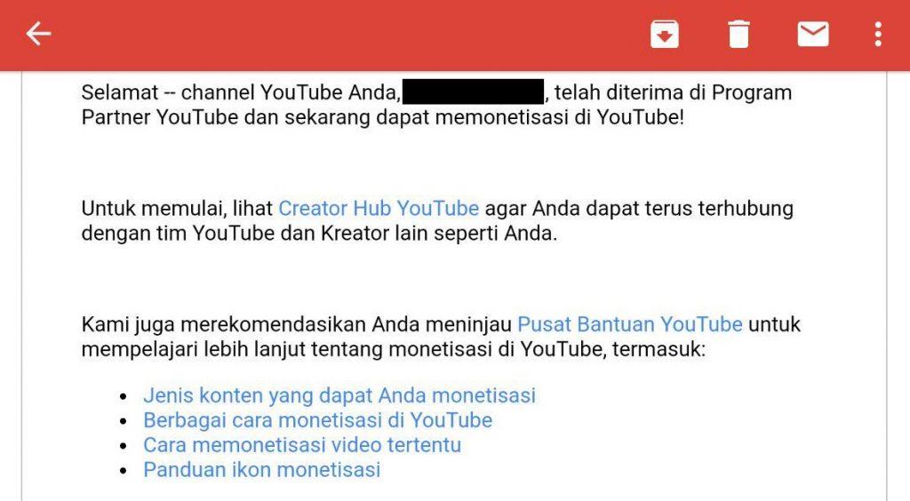 email youtube partner menghasilkan uang dari youtube