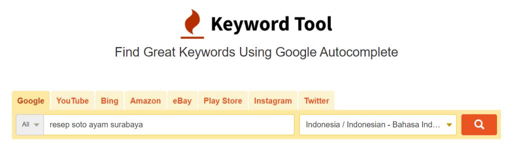 halaman utama keyword tool