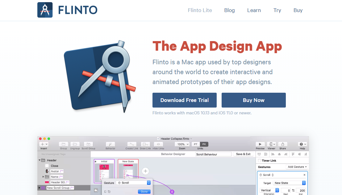 flinto mockup website
