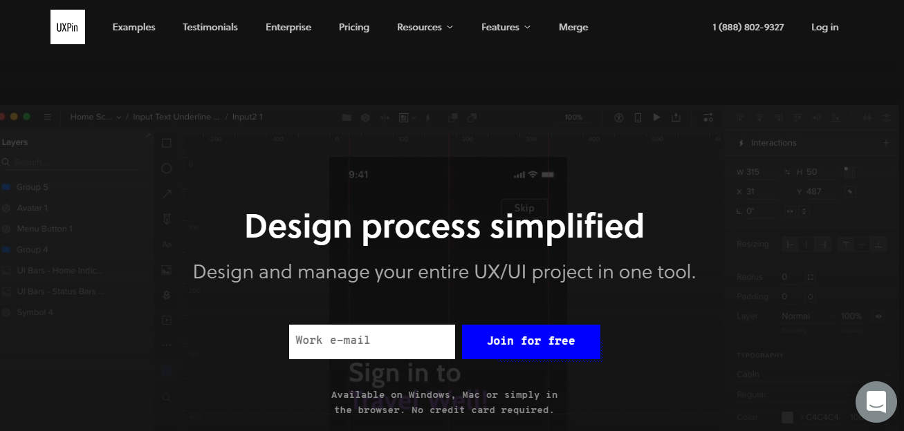 uxpin mockup website