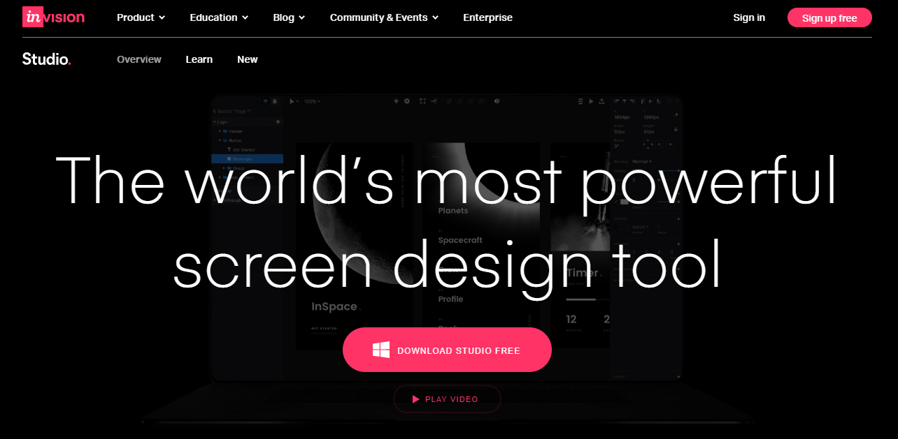 invision mockup website