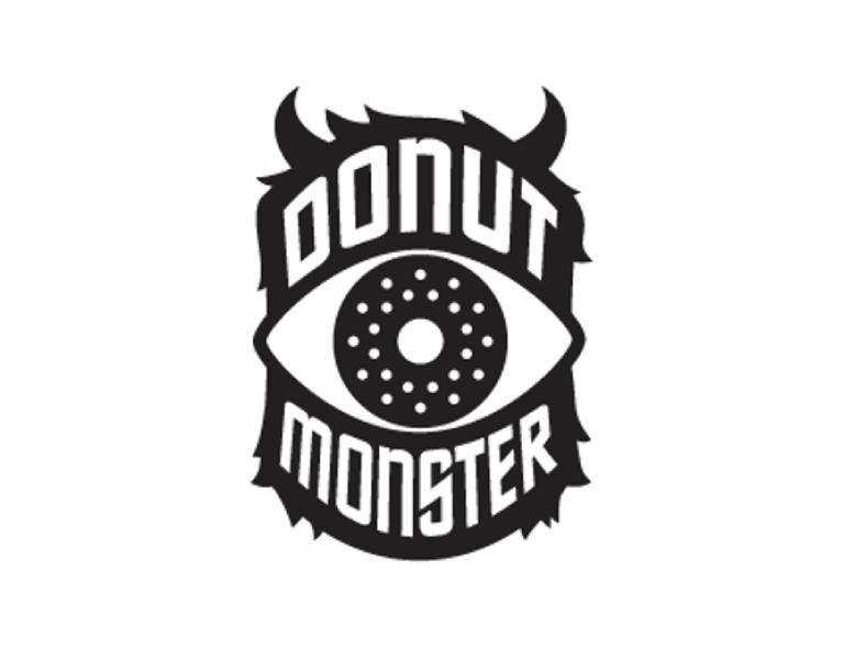 contoh desain logo donut monster bakery