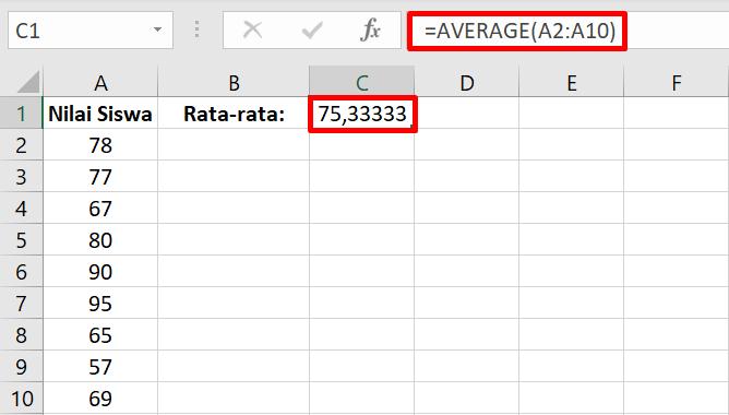 ilustrasi penggunaan average di excel