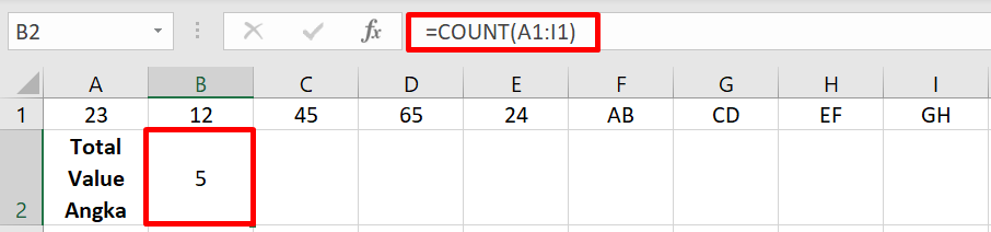 ilustrasi penggunaan count di excel
