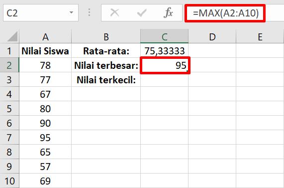 ilustrasi penggunaan max di excel